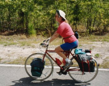 12J. North Carolina - Rosie cycling. I took this bicycle from my bike on the move.