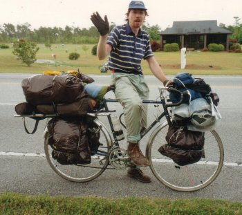 13J. North Carolina - He was cycling the other way, from Washington to Florida. Camping gear, plastic bags instead of panniers, and a dynamo working through his rear mudguard. His worldly goods were with him!